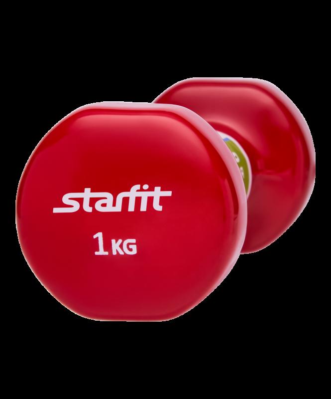 Гантель виниловая DB-101 1 кг, красная, Starfit