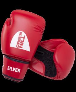 Перчатки боксерские SILVER BGS-2039, 12oz, к/з, красный , Green Hill