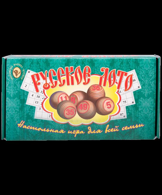 Лото 004-07, бочонок деревянный, картонная коробка, зеленый
