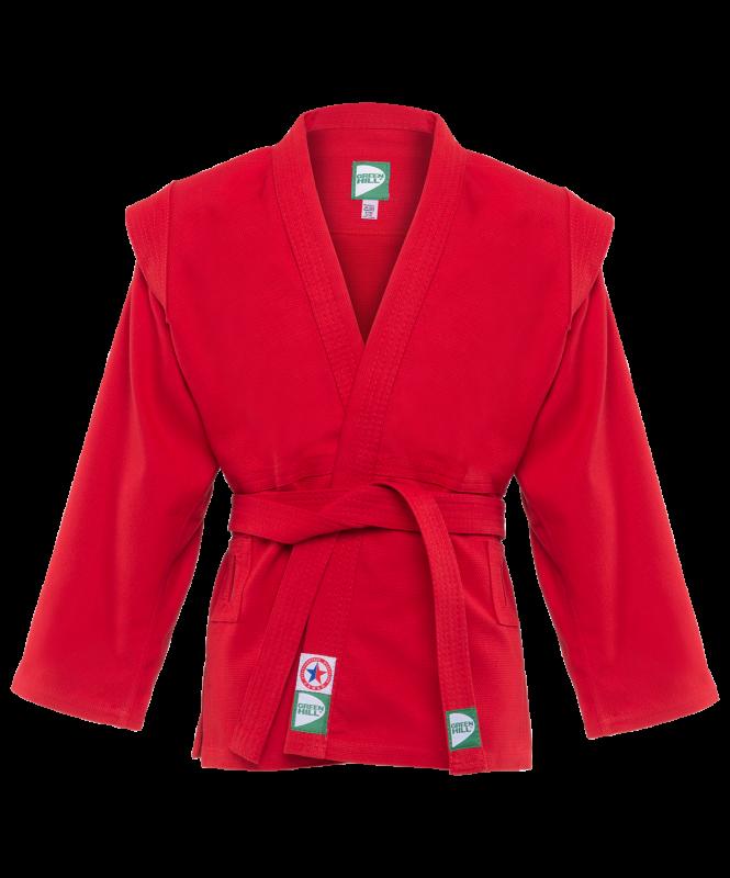 Куртка для самбо JS-302, красная, р.0/130, Green Hill