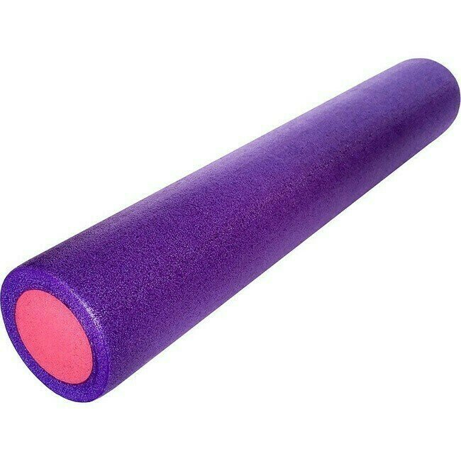 Ролик для йоги полнотелый 2-х цветный (фиолетовый/розовый) 60х15см. (B34495)