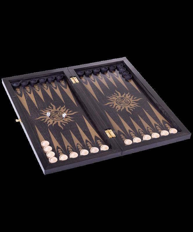 Нарды Вьюн 043-11 дорожные, 290х145х40 мм, черно-золотой