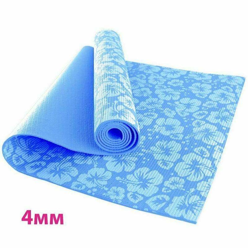 Коврик для йоги 4 мм цветы голубой