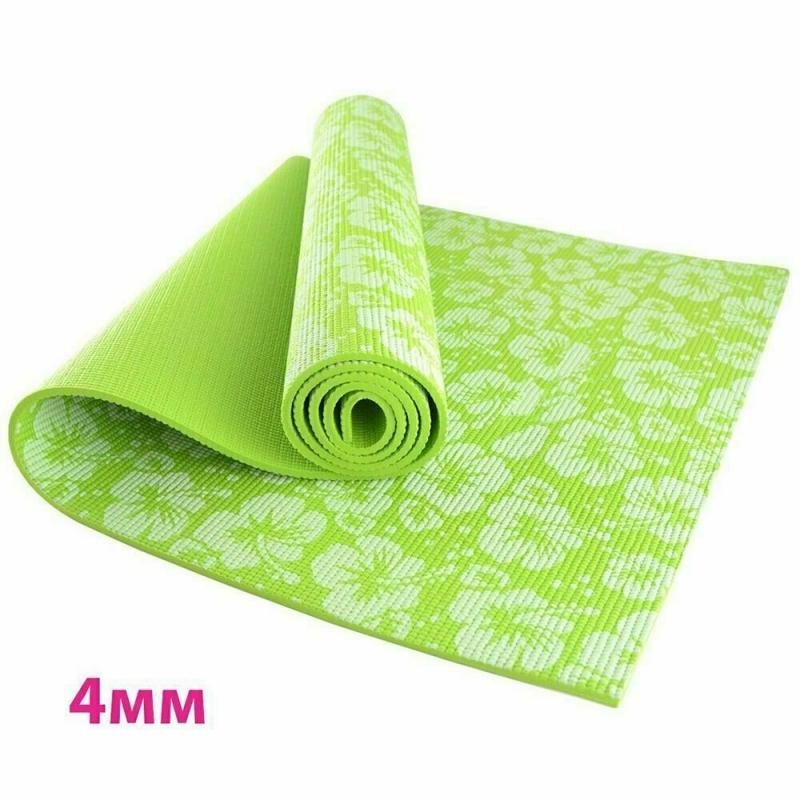 Коврик для йоги 4 мм цветы зеленый