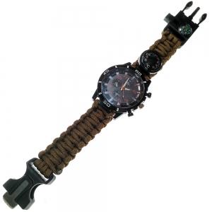 D26095-6 Часы туристические кварцевые 6в1 (коричневый)