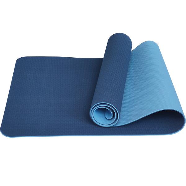 Коврик для йоги ТПЕ 183х61х0,6 см синий-голубой E33583