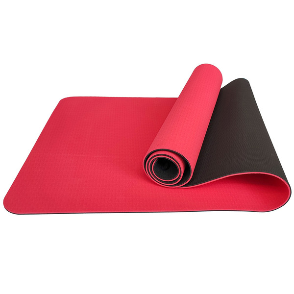 Коврик для йоги ТПЕ 183х61х0,6 см красно-черный E33586