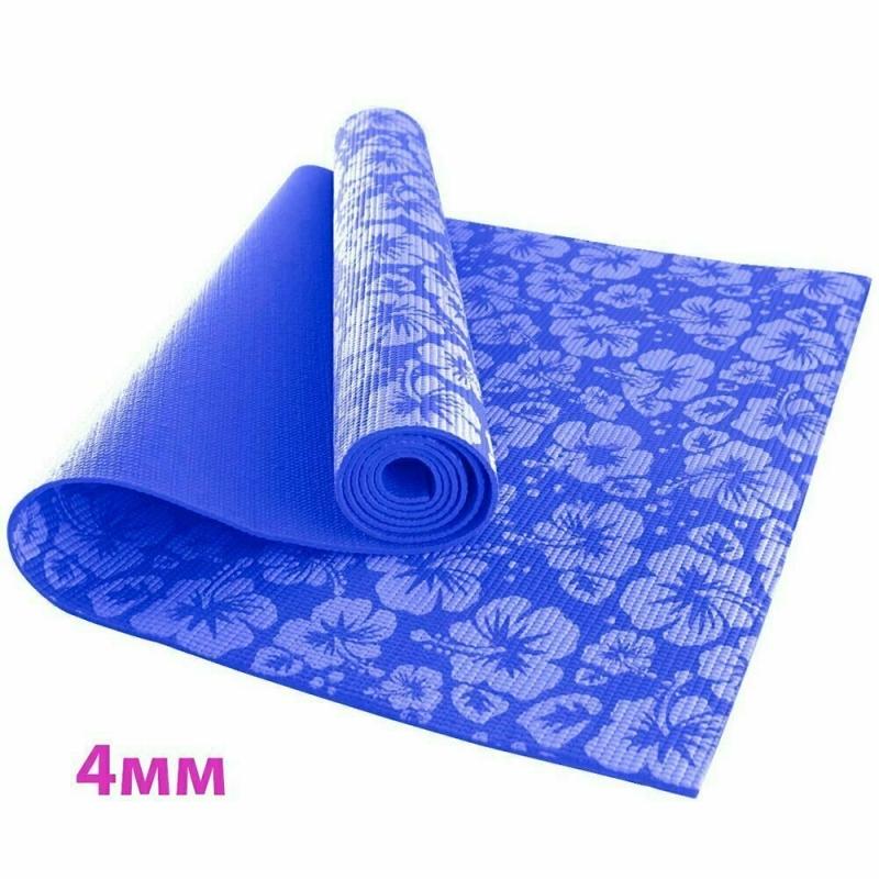 Коврик для йоги 4 мм цветы синий