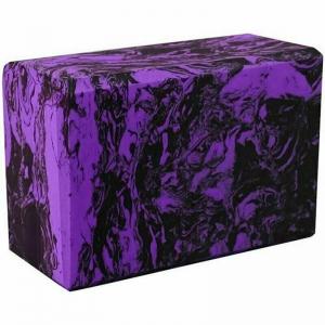 Йога блок полумягкий 223х150х76мм A25578 черно-фиолетовый гранит BE200-11