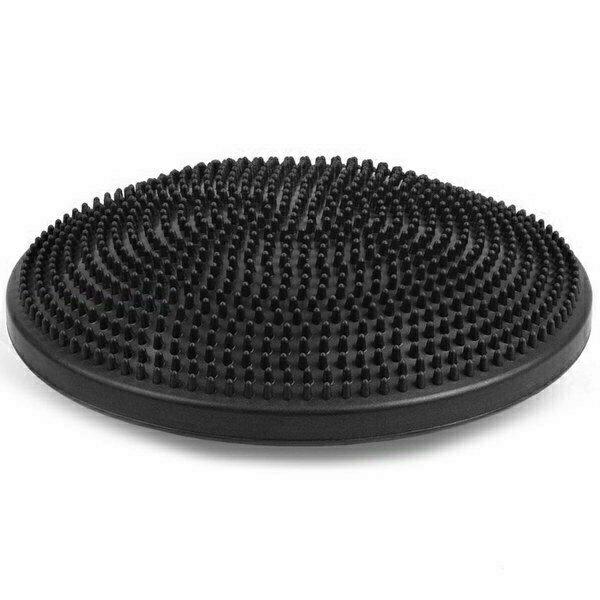 Балансировочная подушка массажная надувная черная d 35см MSG300
