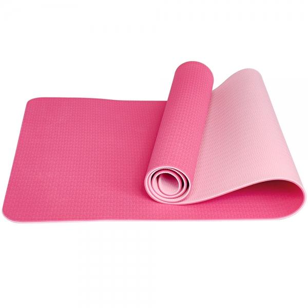 Коврик для йоги ТПЕ 183х61х0,6 см розовый E33585