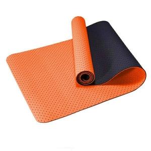 Коврик для йоги 2-х слойный ТПЕ 183х61х0,6 см (оранжевый/черный) Спортекс