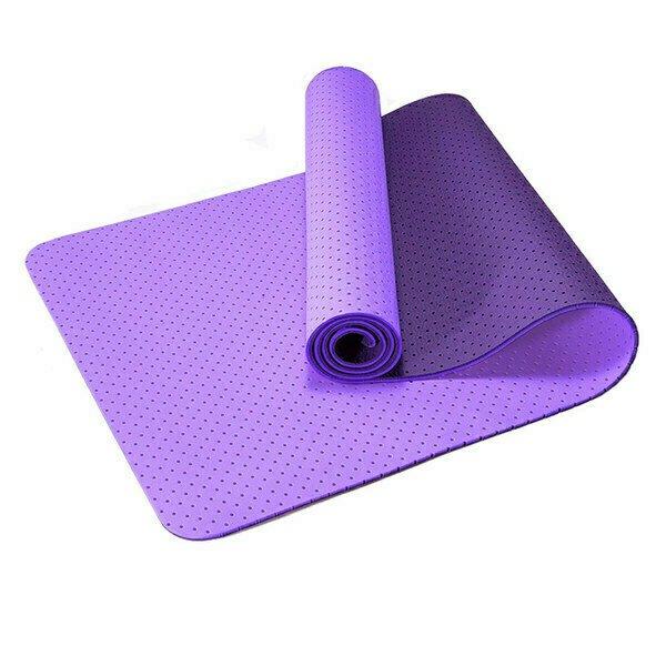 Коврик для йоги 2-х слойный ТПЕ 183х61х0,6 см (фиолетовый/бордовый) B34507 Спортекс