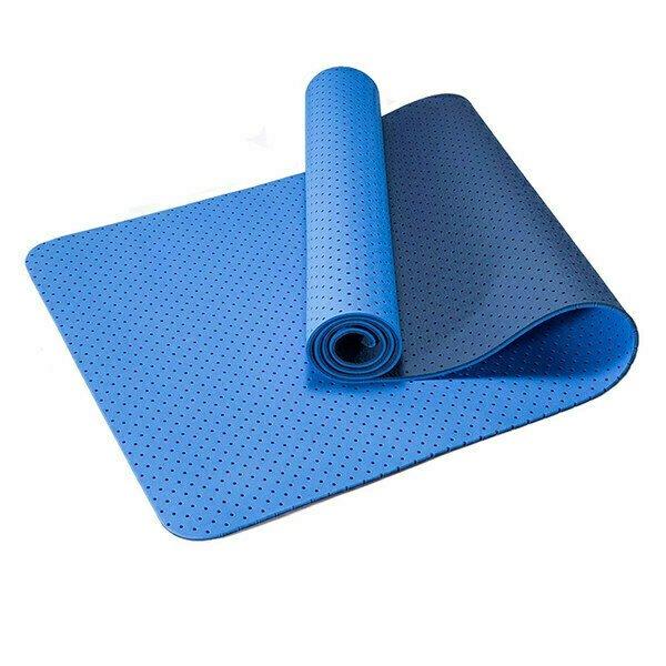 Коврик для йоги 2-х слойный ТПЕ 183х61х0,6 см (синий/голубой) B34508 Спортекс