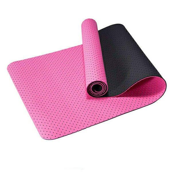 Коврик для йоги 2-х слойный ТПЕ 183х61х0,6 см (розовый/черный) B34509 Спортекс