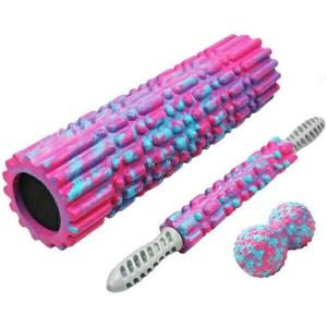 Набор для йоги 45см валик, массажер, мячик (розовый мультиколор) B34512 Спортекс