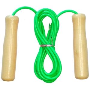 Скакалка 2,6 м. ПВХ с деревянными ручками зеленая E32622-3