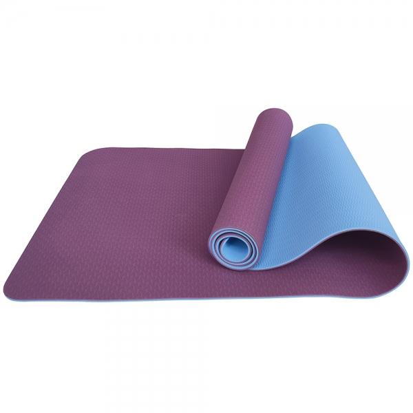 Коврик для йоги ТПЕ 183х61х0,6 см фиолетово-голубой E33589