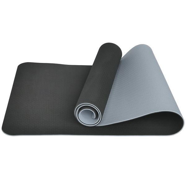 Коврик для йоги ТПЕ 183х61х0,6 см черно-серый E33590