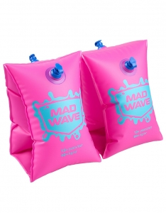 Нарукавники Mad Wave надувные розовые 2-6 лет