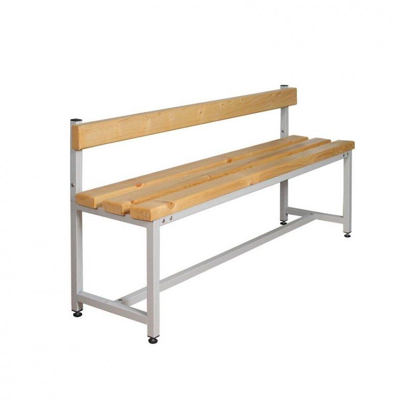 Скамейка для раздевалки односторонняя, со спинкой, длина 2 м