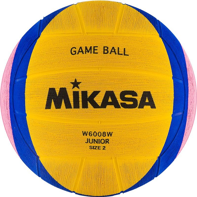 Мяч для водного поло MIKASA W6008W р.2, jun, резина, вес 300-320 г, дл.окр. 58-60см, жел-син-роз