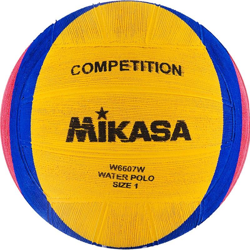 Мяч для водного поло MIKASA W6607W р.1, резина, вес 233-253гр, дл.окр.50-51,5см, жел-син-роз