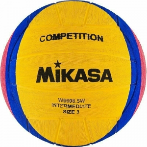 Мяч для водного поло MIKASA W6608 5W р.3, jun, резина, вес 340-380 г, дл. окр.61-63см, жел-син-роз