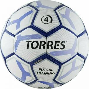 Мяч футзальный TORRES Futsal Training арт.F30644, р.4, 32 панели. PU, 4 подкл. слоя, бело-фиолет-черн