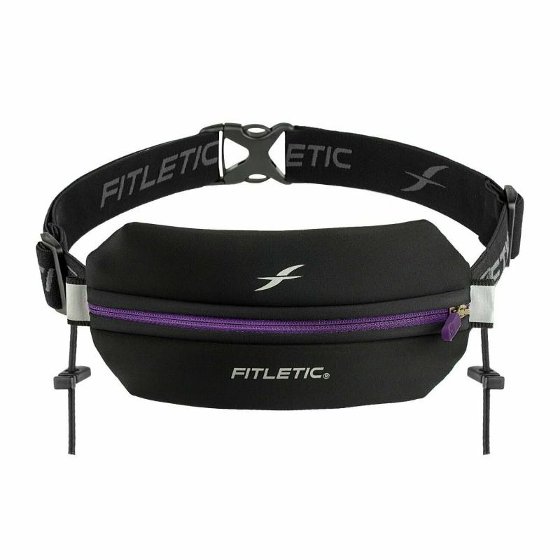 Беговая сумка на пояс FITLETIC Neo Racing, черно-фиолетовый