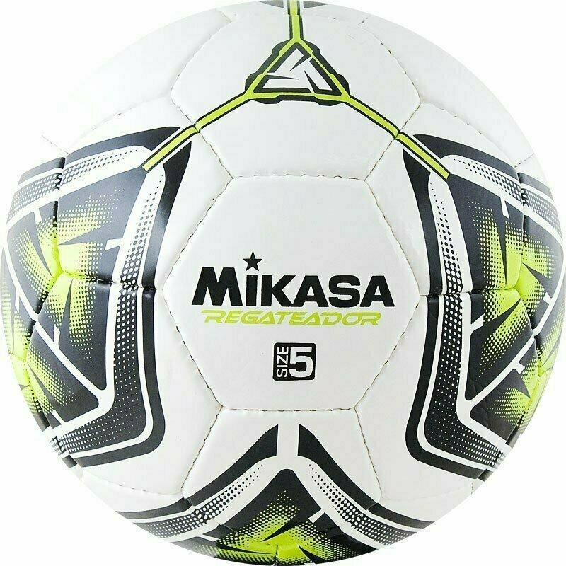 Мяч футбольный  MIKASA REGATEADOR5-G , р.5, 32пан, гл. ПВХ, руч.сш, лат.кам, бело-черн-зеленый