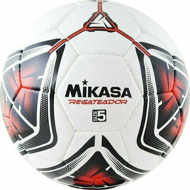 Мяч футбольный  MIKASA REGATEADOR5-R , р.5, 32пан, гл. ПВХ, руч.сш, лат.кам, бело-черн-красный