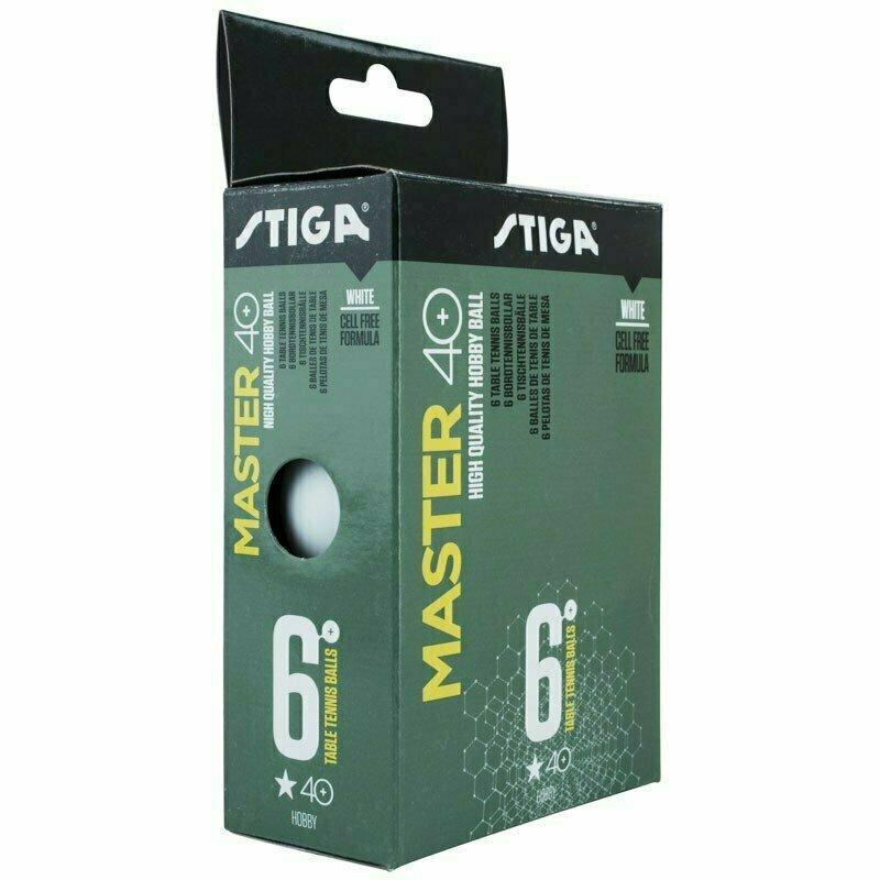 Мяч для настольного тенниса Stiga Master ABS 1*, арт.1111-2410-06, диам. 40+мм, пластик, упак. 6 шт, белый
