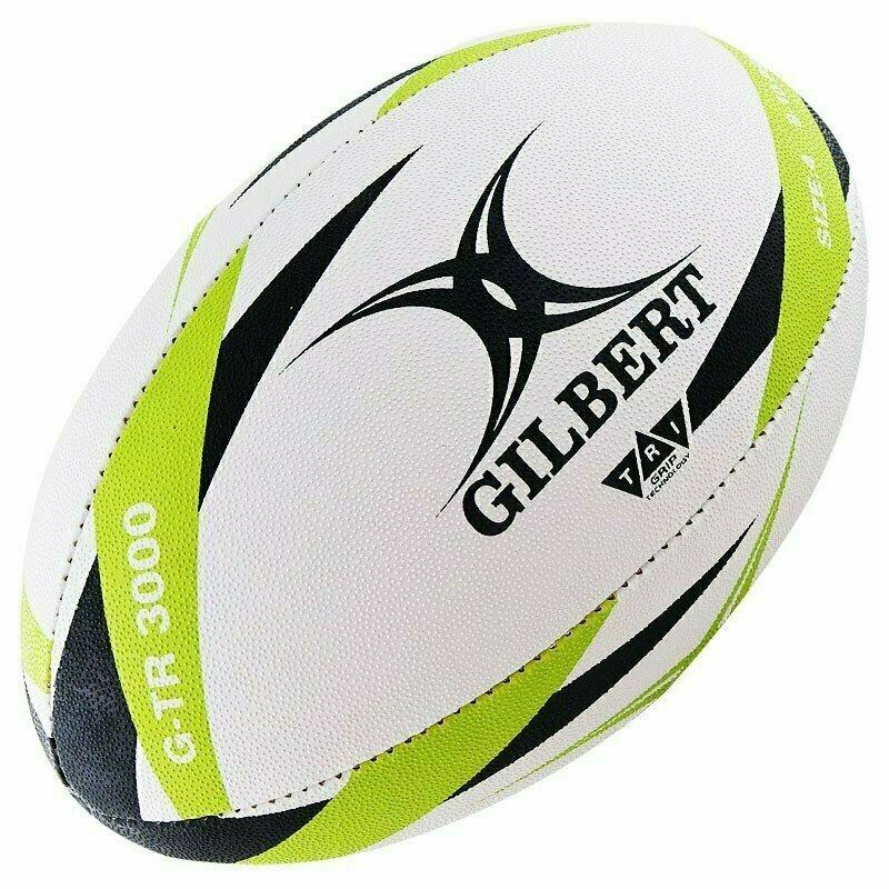 Мяч для регби GILBERT G-TR3000 арт.42098204, р.4, резина, ручная сшивка, бело-салатово-черный
