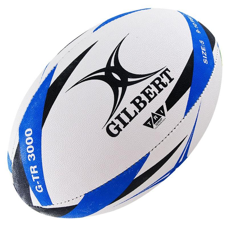 Мяч для регби GILBERT G-TR3000 арт.42098205, р.5, резина, ручная сшивка, бело-черно-синий