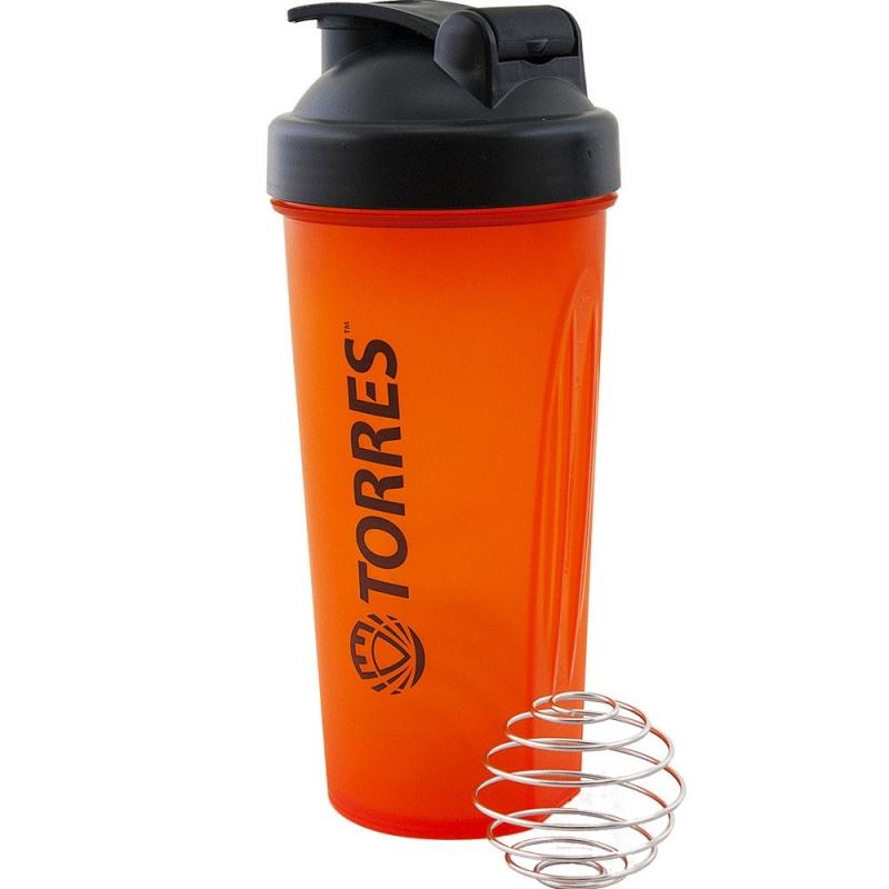 Шейкер спортивный TORRES , арт.S01-600-02, 600мл, черная крышка с колпачком, пластик,ярко-оранжевый