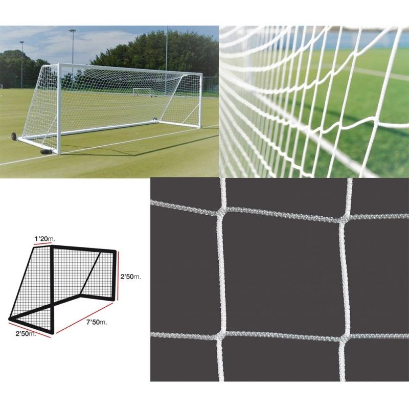 Сетка футбольная  EL LEON DE ORO арт.12444012000, a:7.5 b:2.5 c:1.2 d:2.5, нить 4мм ПП бел.