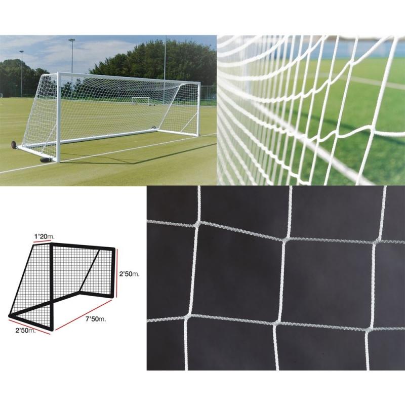 Сетка футбольная  EL LEON DE ORO , арт.12443010000,a:7.5 b:2.5 c:1.2 d:2.5, нить 3мм ПП бел.