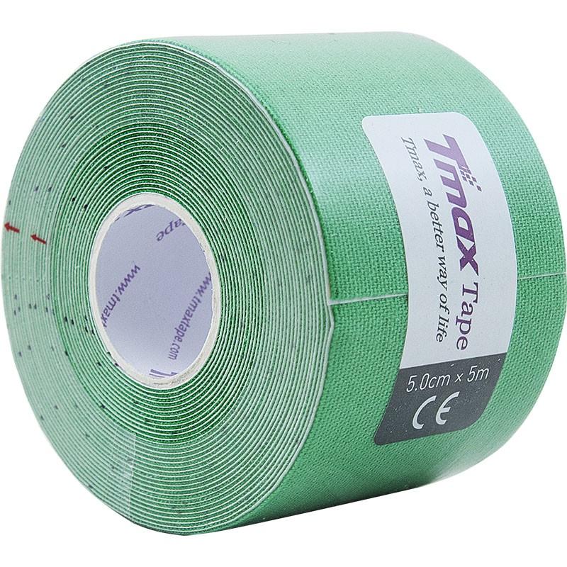 Тейп кинезиологический Tmax Extra Sticky Green (5 см x 5 м), арт 423181, зеленый