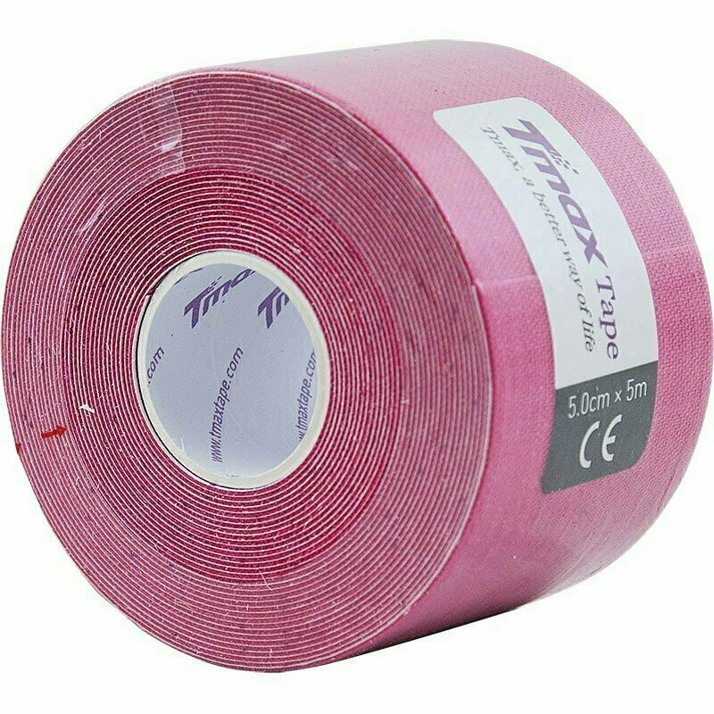 Тейп кинезиологический Tmax Extra Sticky Pink (5 см x 5 м), арт. 423136, розовый