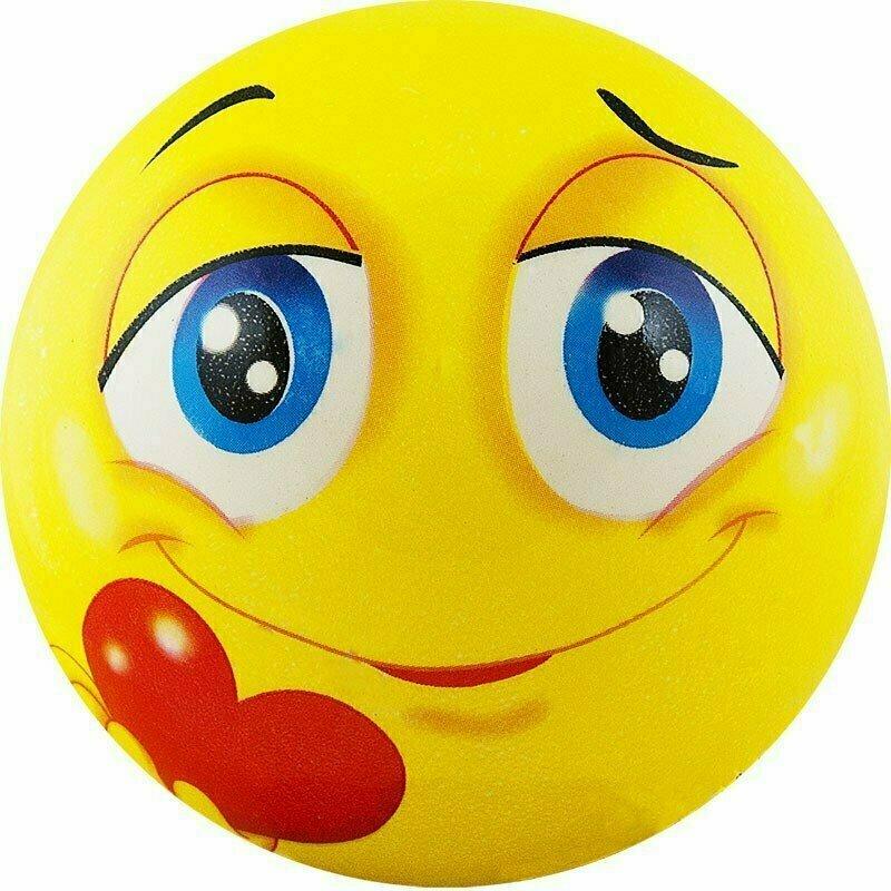 Мяч детский  Funny Faces , арт.DS-PP 207, диаметр 12 см, пластизоль, желтый PALMON