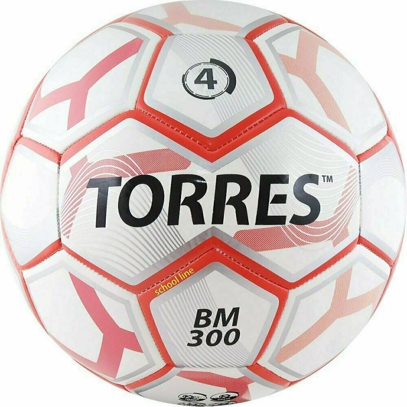 Мяч футбольный  TORRES BM 300 арт.F30744, р.4, 28 пан.,гл.TPU,2 подкл. слой, маш. сш., бело-серебр-крас.