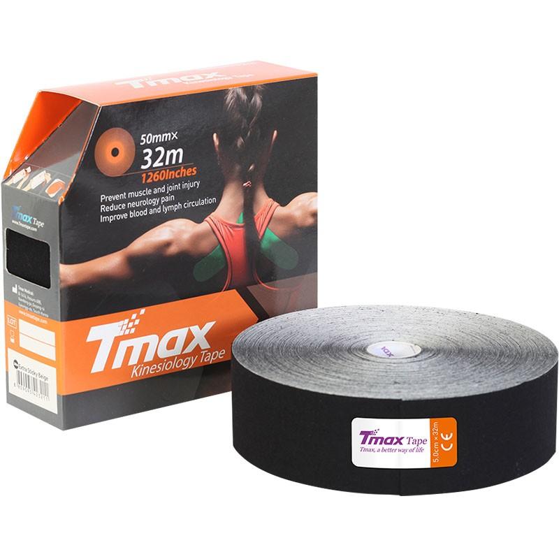 Тейп кинезиологический Tmax 32m Extra Sticky Black (5 см x 32 м), арт. 423242, черный