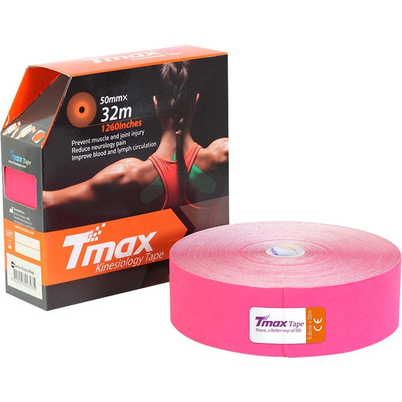 Тейп кинезиологический Tmax 32m Extra Sticky Pink (5 см x 32 м), арт. 423235, розовый