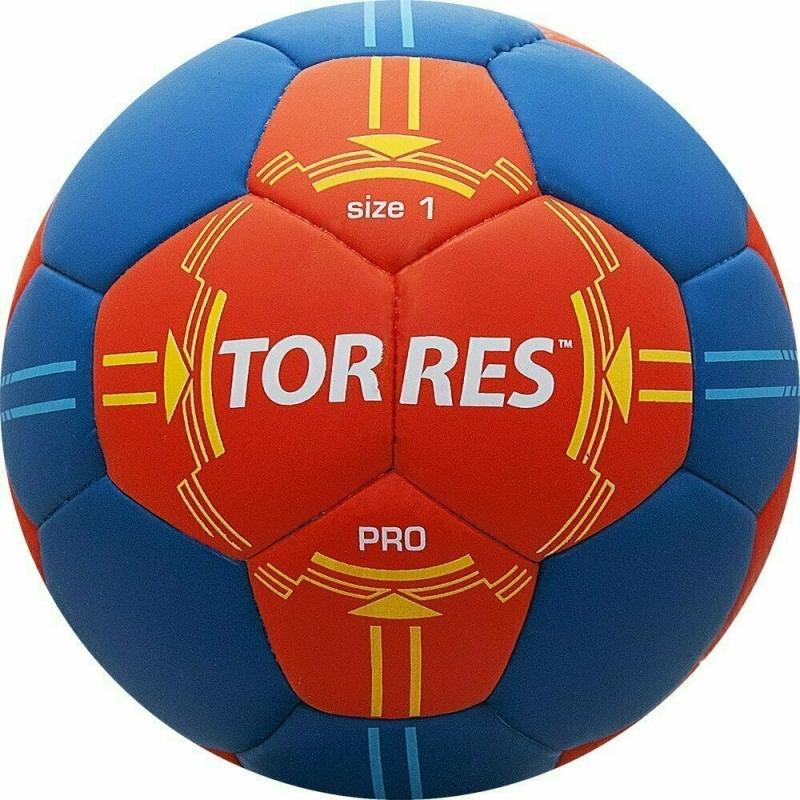 Мяч гандбольный  TORRES PRO арт.H30061, р.1, ПУ, 4 подкл. слоя, оранжево-синий