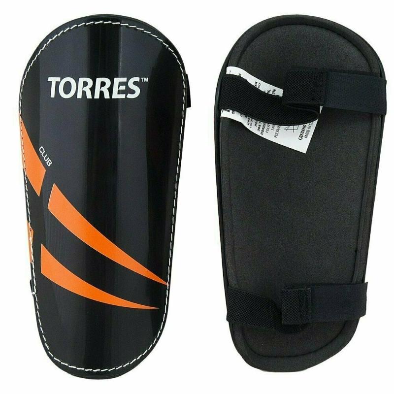Щитки TORRES Club арт.FS1607L, р. L, без голеностопа, две заст. на лип, черно-оранж-белый