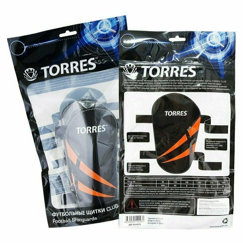 Щитки TORRES Club арт.FS1607S, р. S, без голеностопа, две заст. на лип, черно-оранж-белый