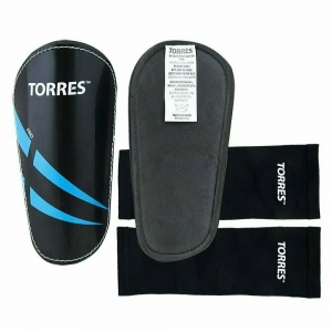 Щитки TORRES Pro арт.FS1608S, р. S, без голеностопа, без заст., эласт.чулок, черно-сине-белый