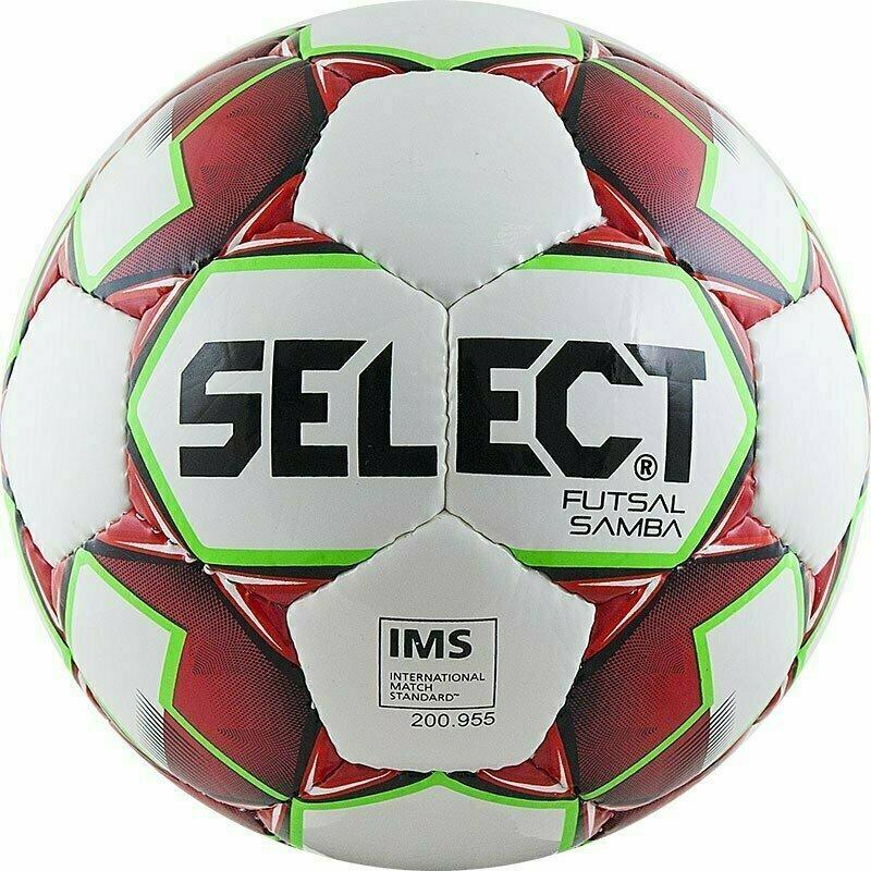 Мяч футзальный SELECT Futsal Samba арт. 852618-003, р.4, IMS, 32пан, глянц.ТПУ,руч.сш,бел-красн-зелен