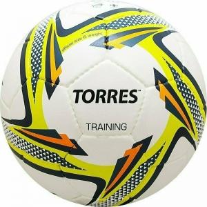 Мяч футбольный  TORRES Training ,арт.F31854,р.4, 32 панели. PU, 4 под. слоя, ручная сшивка, бело-зел-сер